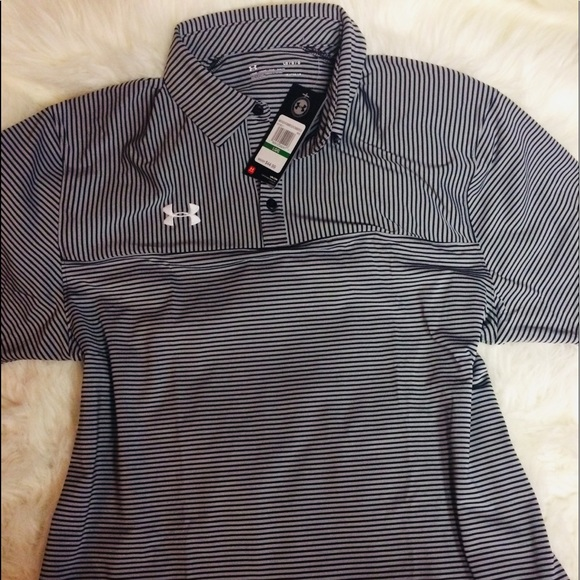 815154aa Under Armour Black Stripe men's collared shirt Lg NWT